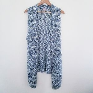 Chicos Open Front Waterfall Sleeveless Cardigan XL